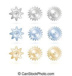 Gears icon set. EPS10 vector.