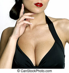 Sexy womans neckline - Large breasted woman in a black dress...