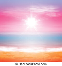 Sea sunset with bright sun EPS10 vector