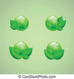 Set of icons for app or web design. Green leaves with the globes. EPS10 vector.