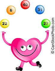 lotto love - Mr heart juggling lottery balls isolated on...