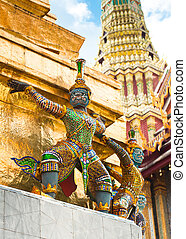 Traditional Thai style statue of Guard at Wat Phra Kaeo