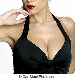 Sexy woman\'s neckline - Large breasted woman in a black...