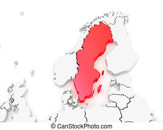 Map of Europe and Sweden. 3d