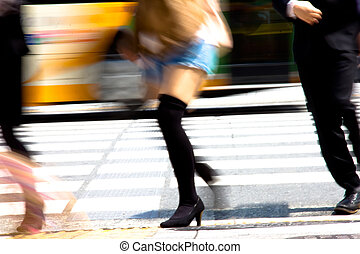 Tokyo City Commuters - zebra crossing with blur motion