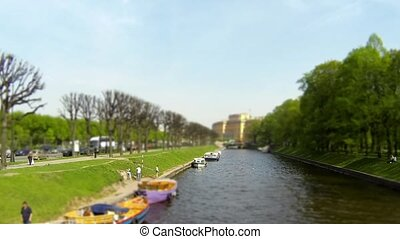 River passenger boat on the canal - waterbus river Moika St...