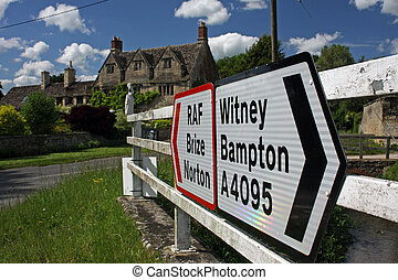 Road sign, Brize Norton, Witney - Double road sign, located...