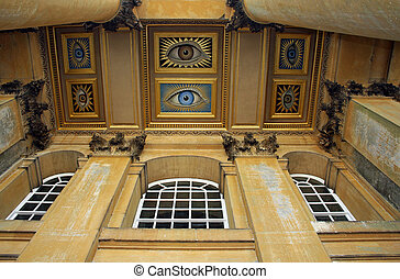 Blenheim Palace all seeing eyes located at the entrance to...