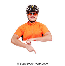 cyclist holding the blank closeup portrait