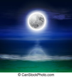 Beach with full moon at night