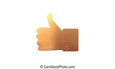 Golden Thumbs up sign - Animated Golden Thumbs up sign on a...