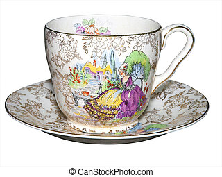 Antique Cup and Saucer isolated with clipping path