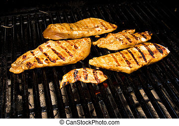 Chicken on the Barbeque - Five pieces of chicken cooking on...