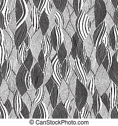 Beach seamless pattern in black and white is hand drawn ink...