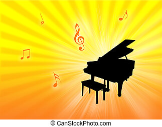 Piano background - Piano instrument on a colorful background...