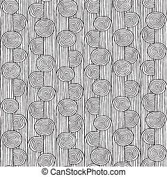 Plant seamless pattern in black and white is hand drawn ink...