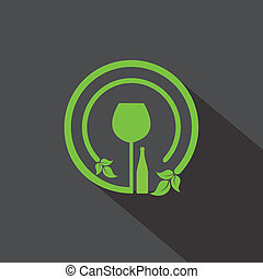 Wine glass and bottle icon with leaf stock vector
