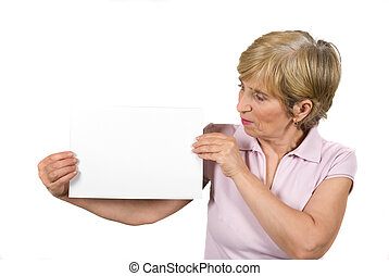 Portrait of mature woman hold a blank page