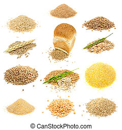 Grain and Cereal Set (Brown Rice, Bran, Lentils, Rye Grains,...