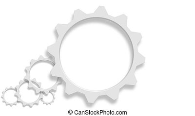 Animated 3d gears on white background.