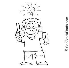 Cartoon man with idea - Monochrome outline cartoon man...