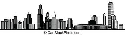 skyline chicago - chicago american city skyline illustration