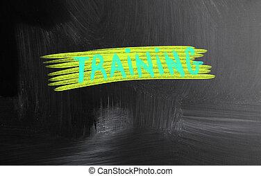 training handwritten with chalk on a blackboard