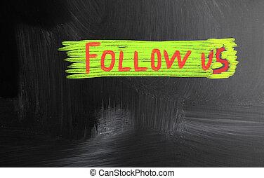 follow us handwritten with chalk on a blackboard