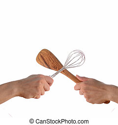 Cooking Contest - Two hands fighting with kitchen tools