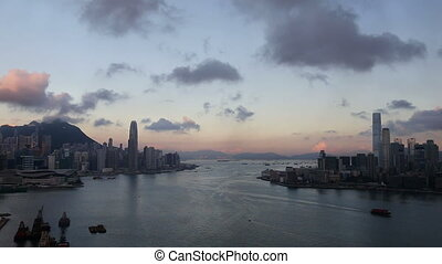 Hong Kong Skyline at Dawn - Unique view of Victoria Harbour...
