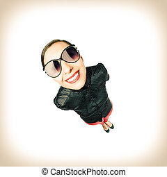 Funny Girl - Funny girl in sunglasses Vitage style photo