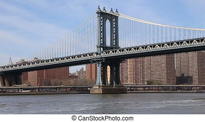 Manhattan Bridge, New York City - The western pylon of the...