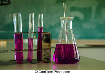colorful of liquid in test tube in laboratory