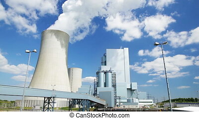 Power Station And Blue Sky - A modern coal-fired power...