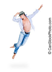 hip hop dancer jumping over white background - hip hop...