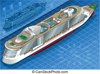 Isometric Cruise Ship in Rear View - Detailed illustration...