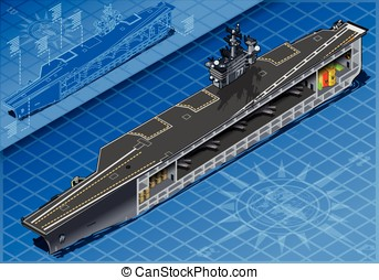 Section of Isometric Aircraft Carrier in Front View -...