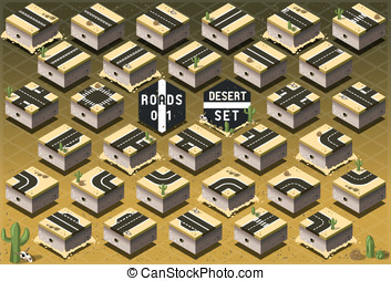 Isometric Roads on Desert Terrain - Detailed illustration of...