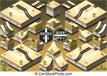 Isometric Roads on Two Levels Desert Terrain - Detailed...