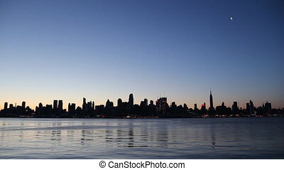 New York at Sunrise - Manhattan Skyline at Sunrise, New York...