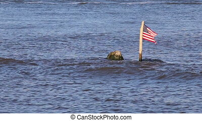 The American Flag in a River - The flag of the United States...