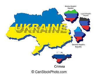 Separate regions of Ukraine, spring events in 2014. -...