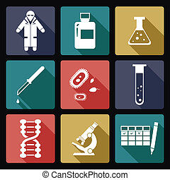 Biology icons - Vector image of collection of biology icons