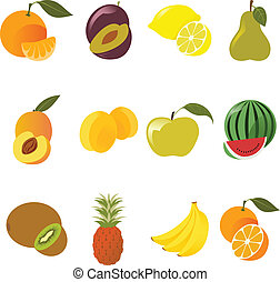 Fruit icons - Vector image of collection of fruit icons
