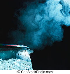 Boiling Tea Kettle - tea kettle with boiling water, dark...