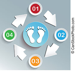 Web design Elements Feet Blue Circle.Vector