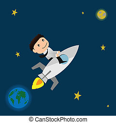 Success concept.Businessman with rocket launch to the moon