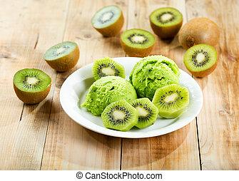 kiwi ice cream with fresh fruits