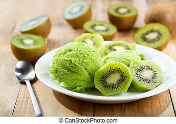kiwi ice cream with fresh fruits