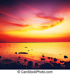 Beautiful Sunset Over Sea - beautiful sunset over calm sea,...